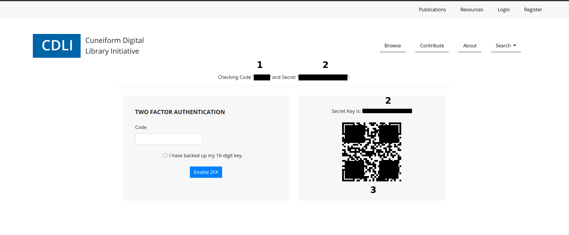 Two Factor Authentication Setup